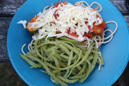 Fried Courgette (Zucchini) in Tomato Sauce with Spaghetti