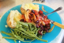 Kidney Bean gloop and Baked Potatoes