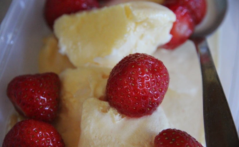 So many strawberries… Homemade Vanilla Ice Cream Recipe